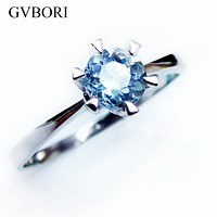 2017 Blue Aquamarine Ring 925 Stering Silver Natural Gemstone Women VVS Engagement Party Round Ring gift Blue Ring Fine Jewelry