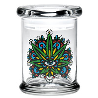 "420 Science 4"" Pop Top Jar (Eyeball with Leaf)"