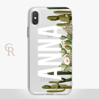 Personalised Cactus Clear Phone Case For iPhone 8 iPhone 8 Plus iPhone X Phone 7 Plus iPhone 6 iPhone 6S  iPhone SE Samsung S8 iPhone 5