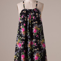 Boho Floral Frock - Black and Fuchsia