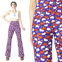 1970s SHEEP Novelty Print Pants Womens Jersey Animal Trousers Aries Sign Astrology Purple Palazzo Pants Disco High Waist Pants  (XS/S/M)