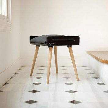 NEW !! Stool / Seat / Ottoman / bench in  Black with oak legs
