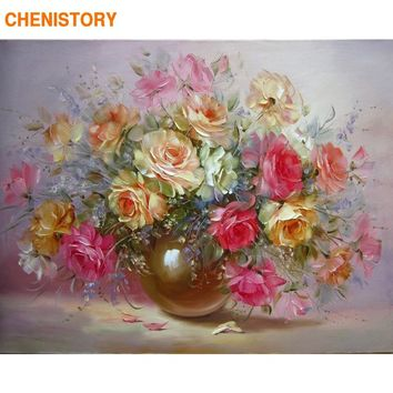CHENISTORY Colorful Minion Flower DIY Painting By Numbers Abstract Oil Painting On Canvas Unique Gift For Living Room Decoration