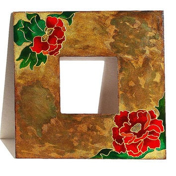 Red flowers wooden frame. Rustic mirror. Wood country decor. summer gift