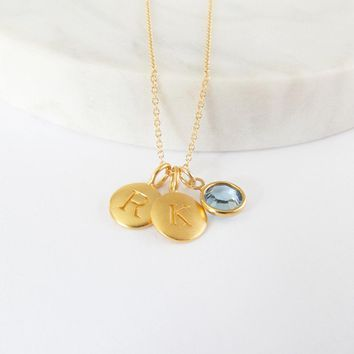 Gold Initials & Birthstone Charm Necklace