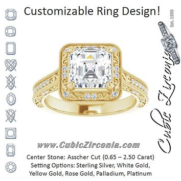 Cubic Zirconia Engagement Ring- The Eowyn (Customizable Vintage Artisan Asscher Cut Design with 3-Sided Filigree and Side Inlay Accent Enhancements)