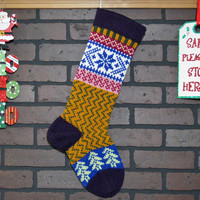 Zigzag Christmas Stocking, Hand Knit with Amethyst Purple Cuff, and Royal Blue Snowflake, can be personalized, Housewarming/ Wedding Gift