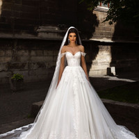 Sexy A-Line Wedding Dresses 2017 Off The Shoulder Sweep Train Lace Up Back Applique Tulle Bridal Gown robe de mariage
