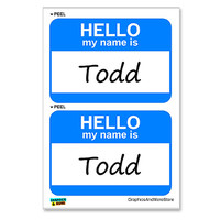 Todd Hello My Name Is - Sheet of 2 Stickers