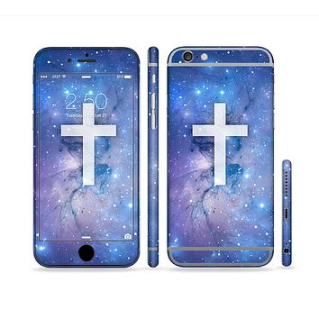 The Vector White Cross v2 over Space Nebula Sectioned Skin Series for the Apple iPhone 6