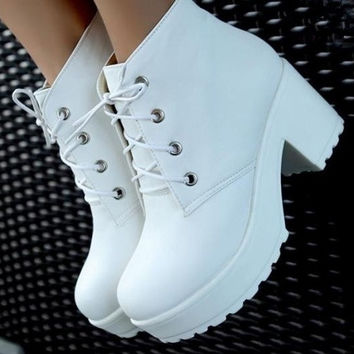 Punk Rock Lace-Up Heels thick heel Ankle Boots (please measuring your foot length carefully) = 1946452676