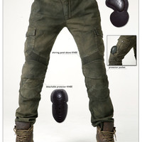 Uglybros MOTORPOOL UBS06 jeans Leisure motorcycle jeans pants of locomotive army green