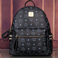 MCM fashion men's and women's school bags, personalized rivet letters full print backpack