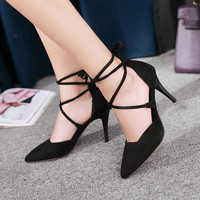 Pointed Toe Faux Suede Tie Up High Heels Stiletto Heel 1498