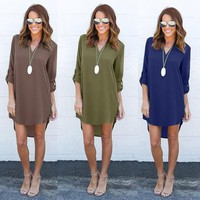 Women Blouse Long Sleeve Ladies Shirt Casual Loose Chiffion Blouse Tops Pluse Size S-3XL