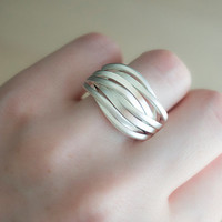 Silver plated statement ring fashion ring women ring gift for her mother's day gift us 8 size