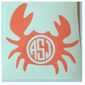Monogrammed Crab Decal - Personalized Nautical Sticker - Cute Custom Decal for Car or Tablet - Beach Theme
