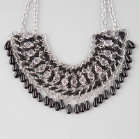 Full Tilt Cord/Rhinestone Statement Necklace Black One Size For Women 25145010001