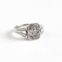 Vintage Sterling Silver Girl Scout Eagle Motif Ring - Adjustable GSA Girl Scouts of America C&C Clark and Coombs Jewelry
