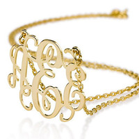 Monogram necklace Personalized Monogram - 925 Sterling silver 18k Gold Plated