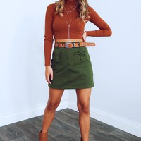 The Right Touch Crop Top: Cognac
