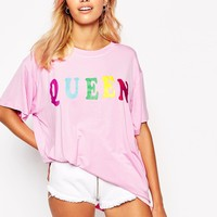 O'Mighty Oversized T-Shirt With Rainbow Queen Print