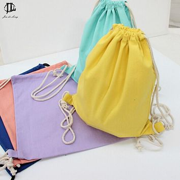 Women Canvas Drawstring Backpack Canvas Drawstring Backpack Super Thick Encryption Canvas Pocket Softback Shoulders Draw String