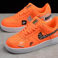 "NIKE AIR FORCE ONE JUST DO IT ""ORANGE"" MEN WOMEN SNEAKER 905345-800"