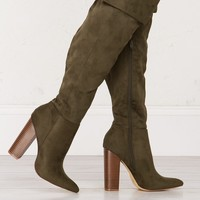 Suede Knee High Boots in Olive, Black and Taupe
