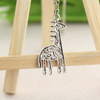 necklace--giraffe necklace,antique silver charm bracelet,christmas gift,love gift,alloy chain