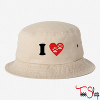 I Heart Paw Print Two bucket hat