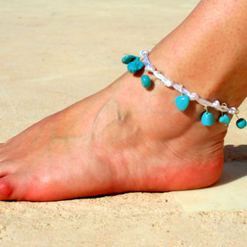Anklet  Beach Jewelry Blue turquoise beads, with lace, feet jewlery, Hippie Sandals Foot Jewelry Toe Thong