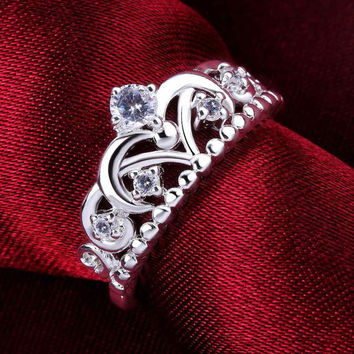 925 silver Queen Elizabeth Crown ring, 925 silver fashion jewelry, Crown Ring, New  Rings 925 Silver designer, Size 7 and 8