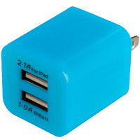 Baby Blue 2-Port Dual Wall Home Charger Cube for Apple iPhone 6 Plus / 6S Plus (5.5)