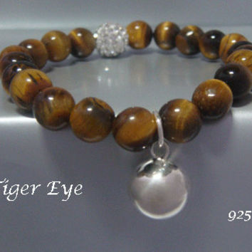 Harmony Ball Bracelet with Stunning Tiger Eye Beads and 925 Sterling Silver Har