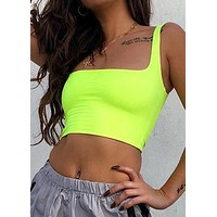 Strappy Fluorescent Green Top