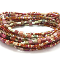 3 Stretch seed bead wrap bracelets, stacking, beaded, boho anklet, bohemian, stretchy stackable multi strand, red orange amber pink gold