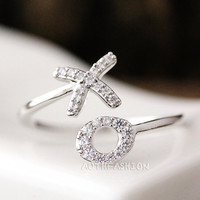 Adjustable XO Ring Kiss and Hug Ring Tiny Crystal Infinite Love Best Friend Ring Gift Idea byr21