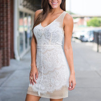 Soiree Stand Out Dress, Cream