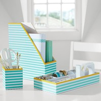 Printed Desk Accessories, Pool Stripe With Yellow Trim