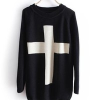 A 071005   Cross sweater, Loose sweater from decaldramastorenvy