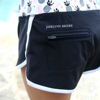 Jadelynn Brooke: Athletic Shorts {Pineapple Black} - Size MEDIUM
