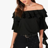Ellie Off The Shoulder Ruffle Blouse | Boohoo