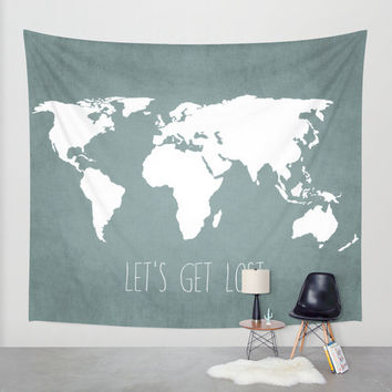 Wall Tapestry // Let's Get Lost World Map