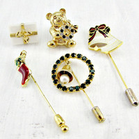 Vintage Christmas Pin Lot, Stick Pins / Lapel Pins, Teddy Bear Christmas Gift Stocking Bell Wreath Pins, Costume Jewelry Lot, Gift for Mom