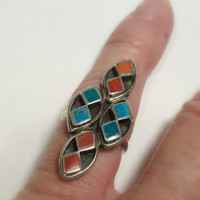Zuni Turquoise Silver Ring Size 4 1/2 Native American Ring Blue and Red Inlay Ring