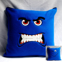 TwoFaced Pillow Cover Moody Blues by FabulouslyFierce on Etsy