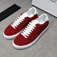 Givenchy Men Suede White Red Low Sneakers