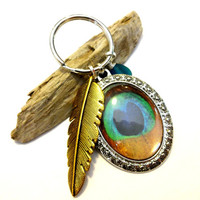 Pretty as a Peacock Keychain, Peacock Cabachon Pendant, Golden Feather Key Ring, Teal Sea Glass Key Chain, Cool Car Keychain, Peacock Gift