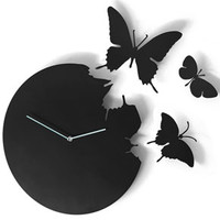 Butterfly Clock Oval Stainless Steel